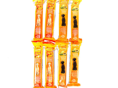 Ultra Chewy Tropical Bone Bundle B (8 bones total) - 4 Mango Flavored, 4 Papaya Flavored - Peazz Pet