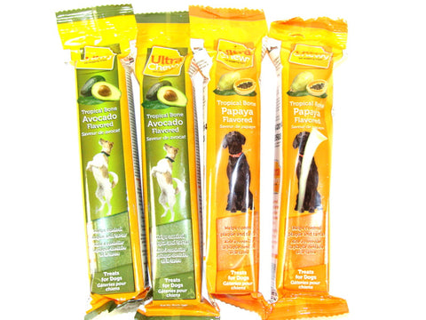 Ultra Chewy Tropical Bone Bundle D (4 bones total) - 2 Avocado Flavored, 2 Papaya Flavored - Peazz Pet
