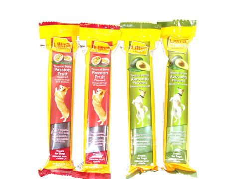 Ultra Chewy Tropical Bone Bundle A (4 bones total) - 2 Avocado Flavored, 2 Passion Fruit Flavored - Peazz Pet