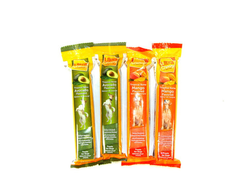 Ultra Chewy Tropical Bone Bundle E (4 bones total) - 2 Avocado Flavored, 2 Mango Flavored - Peazz Pet