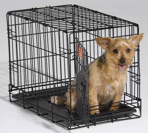 "Qpets QPC-100S Folding Dog Kennel Crate Cage w/ ABS Tray 20""L x 12""W x 14""H for Small Dogs - Peazz Pet"