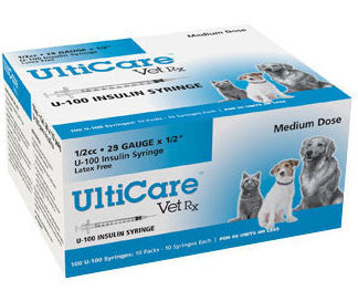 "UltiCare VetRx Insulin Syringe U-100, 1/2cc 29gaX1/2"", 100/Box - Peazz Pet"
