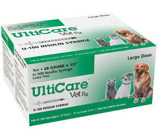 "UltiCare VetRx Insulin Syringe U-100, 1cc 28gaX1/2"", 100/Box - Peazz Pet"