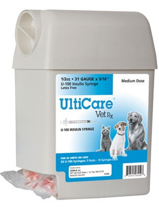 "UltiCare VetRx U-100 Insulin Syringe 1/2cc, 31g x 5/16"", UltiGuard Dispenser, Sharps Container, 50 Syringes - Peazz Pet"