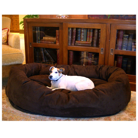 "Majestic Pet 32"" Bagel Dog Pet Bed Suede Chocolate - Peazz Pet"