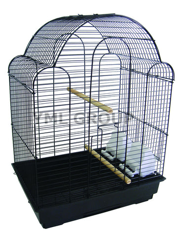 "YML Group 1704BLK 3/8"" Bar Spacing Shell Top Bird Cage, Black - Peazz Pet"
