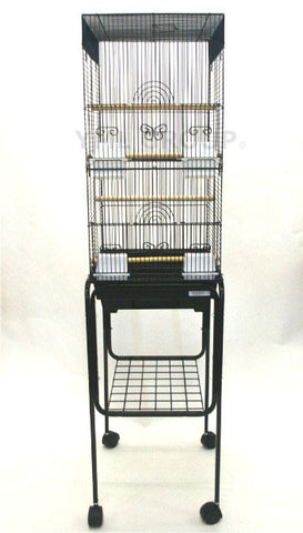 "YML Group 6624_4614BLK 3/8"" Bar Spacing Tall Square 4 Perchs Bird Cage With Stand, Black"