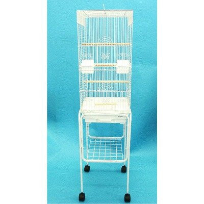 "YML Group 6624_4614WHT 3/8"" Bar Spacing Tall Square 4 Perchs Bird Cage With Stand, White"