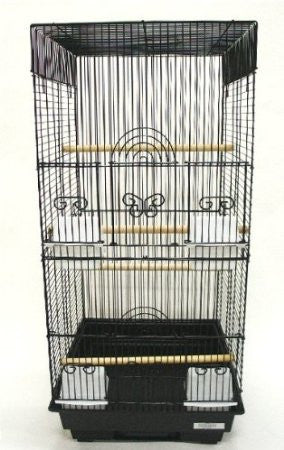 "YML Group 6624BLK 3/8"" Bar Spacing Tall Square 4 Perchs Bird Cage, Black"