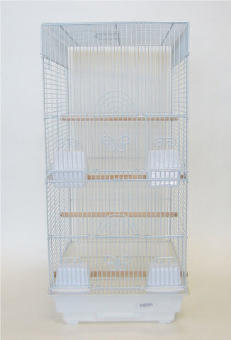 "YML Group 6624WHT 3/8"" Bar Spacing Tall Square 4 Perchs Bird Cage, White"