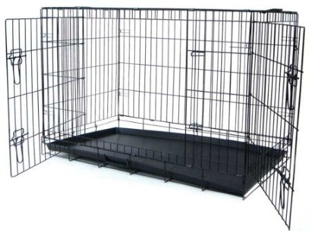 "YML Group DSA42 42"" Foldable Heavy Duty 2 Door Dog Crate"