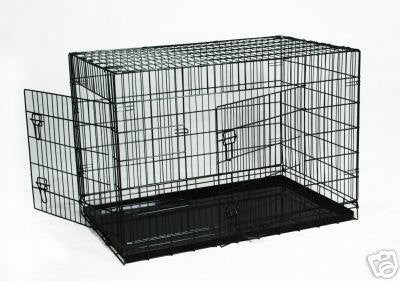 "YML Group SA36 36"" Double Door Dog Kennel Cage With Plastic Tray No Bottom Wire, Black"