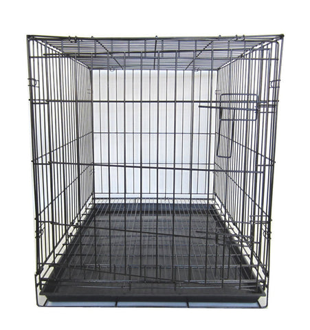"YML Group SA42G 42"" Dog Kennel Cage With Bottom Grate, Black"