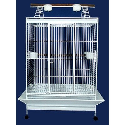 "YML Group WI40WHT WI40 1"" Bar Spacing Play Top Wrought Iron Parrot Cage - 40""x30"" In White - Peazz Pet"