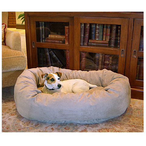 "Majestic Pet 24"" Bagel Dog Pet Bed Suede Stone - Peazz Pet"
