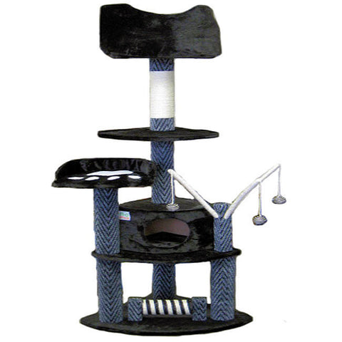 "GoPetClub Cat Tree Furniture Grey Black 62"" (F18) - Peazz Pet"