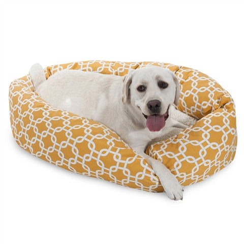 "Majestic Pet Products 40"" Yellow Links Sherpa Bagel Bed - Peazz Pet"
