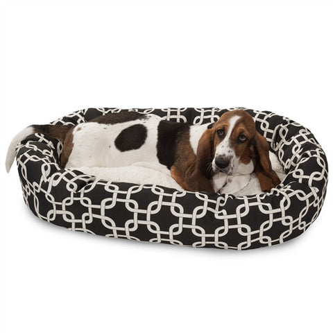 "Majestic Pet Products 32"" Black Links Sherpa Bagel Bed - Peazz Pet"