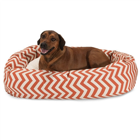 "Majestic Pet Products 52"" Burnt Orange Chevron Sherpa Bagel Bed - Peazz Pet"