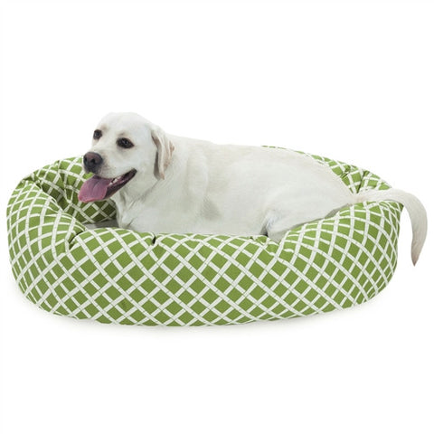 "Majestic Pet Products 40"" Sage Bamboo Sherpa Bagel Bed - Peazz Pet"