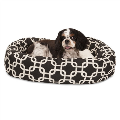 "Majestic Pet Products 24"" Black Links Sherpa Bagel Bed - Peazz Pet"
