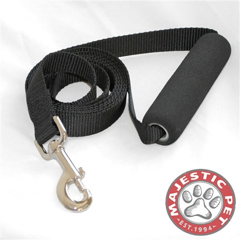 Majestic Pet Products 1in x 6ft Easy Grip Handle Leash Black By Majestic Pet Products - Peazz Pet
