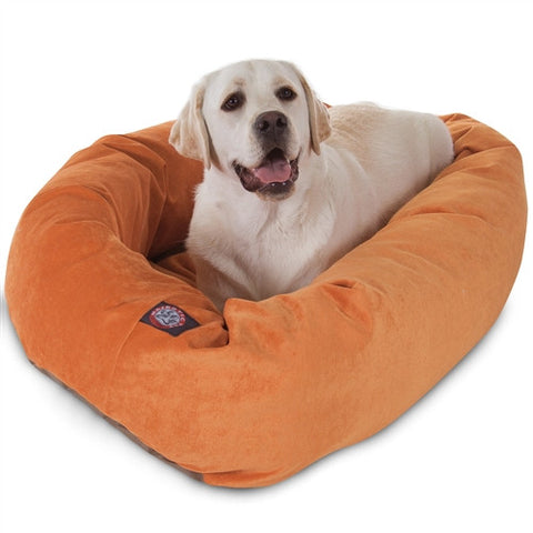 "Majestic Pet Products 40"" Orange Villa Collection Micro-Velvet Bagel Bed By Majestic Pet Products - Peazz Pet"