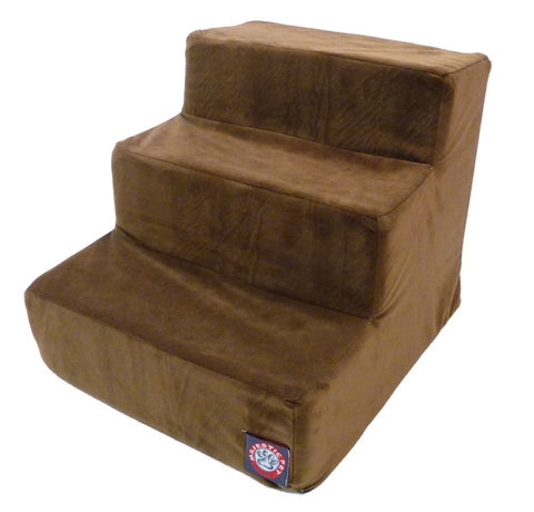 Majestic Pet Products 3 Step Chocolate Suede Pet Stairs By Majestic Pet Products - Peazz Pet