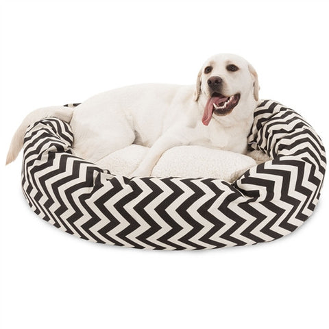 "Majestic Pet Products 40"" Black Chevron Sherpa Bagel Bed - Peazz Pet"