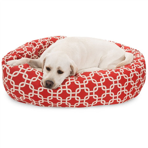 "Majestic Pet Products 40"" Red Links Sherpa Bagel Bed - Peazz Pet"