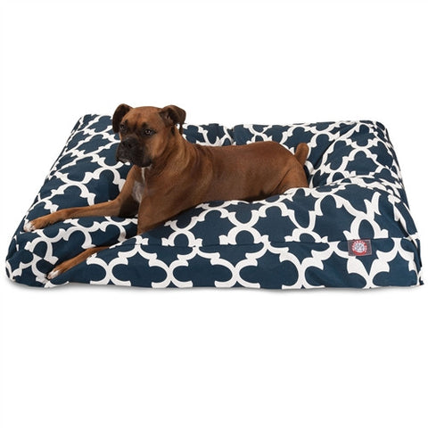 Majestic Pet Products Navy Trellis Extra Large Rectangle Pet Bed - Peazz Pet