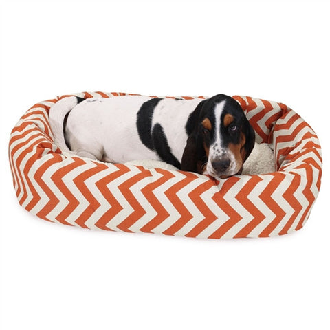 "Majestic Pet Products 32"" Burnt Orange Chevron Sherpa Bagel Bed - Peazz Pet"