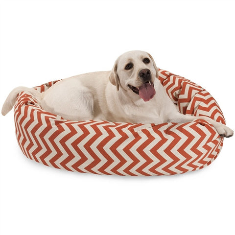 "Majestic Pet Products 40"" Burnt Orange Chevron Sherpa Bagel Bed - Peazz Pet"