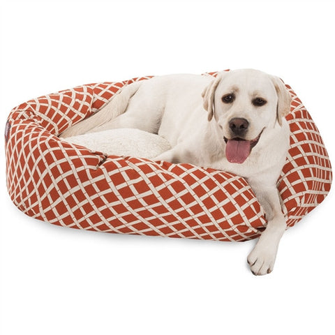 "Majestic Pet Products 40"" Burnt Orange Bamboo Sherpa Bagel Bed - Peazz Pet"