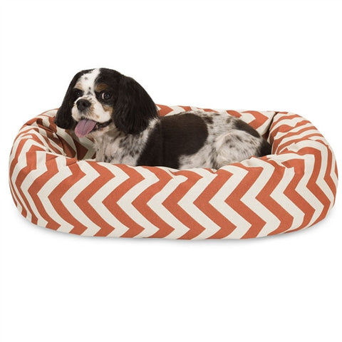 "Majestic Pet Products 24"" Burnt Orange Chevron Sherpa Bagel Bed - Peazz Pet"