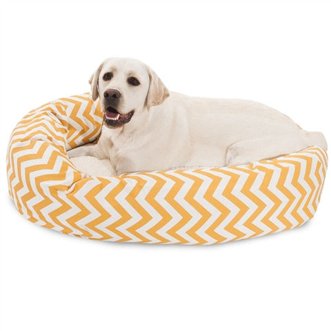 "Majestic Pet Products 40"" Yellow Chevron Sherpa Bagel Bed - Peazz Pet"