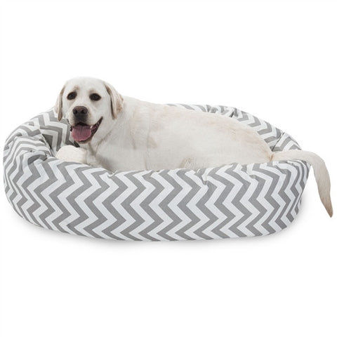 "Majestic Pet Products 40"" Grey Chevron Sherpa Bagel Bed - Peazz Pet"
