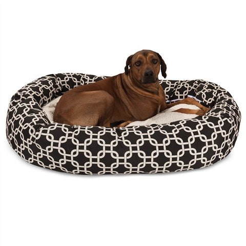 "Majestic Pet Products 52"" Black Links Sherpa Bagel Bed - Peazz Pet"