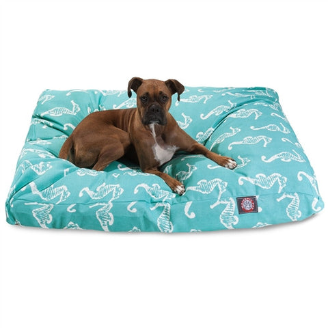Majestic Pet Products Teal Sea Horse Extra Large Rectangle Pet Bed - Peazz Pet