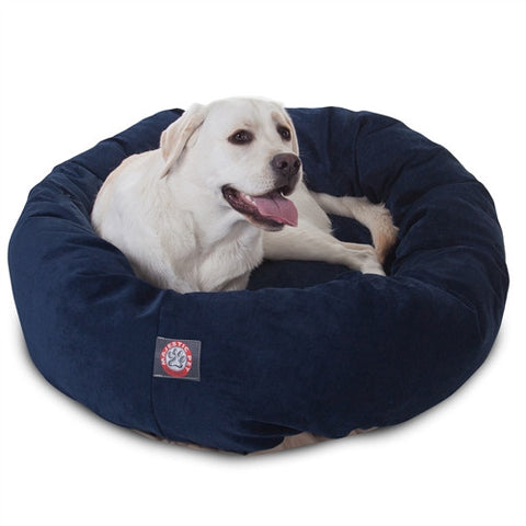 "Majestic Pet Products 40"" Navy Villa Collection Micro-Velvet Bagel Bed By Majestic Pet Products - Peazz Pet"
