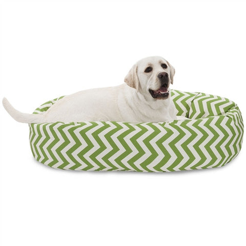 "Majestic Pet Products 40"" Sage Chevron Sherpa Bagel Bed - Peazz Pet"