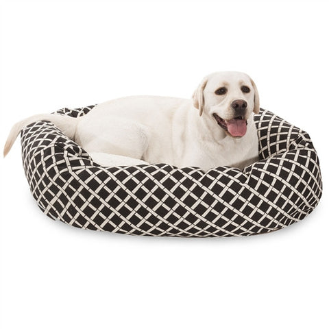 "Majestic Pet Products 40"" Black Bamboo Sherpa Bagel Bed - Peazz Pet"