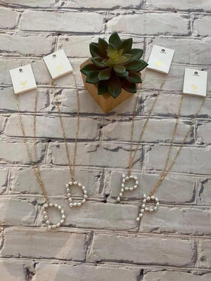 pearl letter necklace