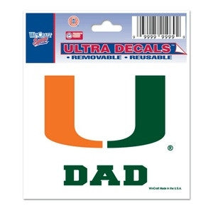 "Miami Hurricanes ""U Dad"" Ultra Decal 3"" x 4"" - CanesWear at Miami FanWear Decals & Stickers WinCraft CanesWear at Miami FanWear"