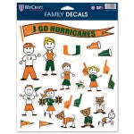 Miami Hurricanes Family Decal Sheet 8.5 x 11 - CanesWear at Miami FanWear Decals & Stickers WinCraft CanesWear at Miami FanWear