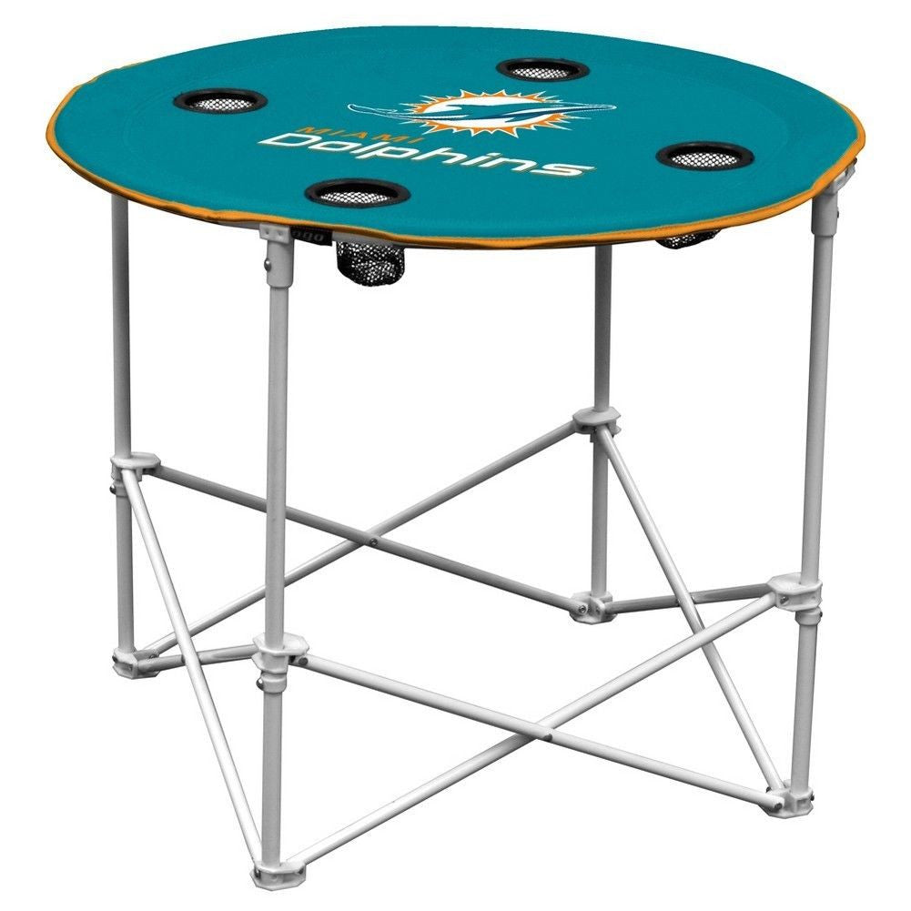 Miami Dolphins Folding Round Table - CanesWear at Miami FanWear Tailgate Gear Logo Chair CanesWear at Miami FanWear