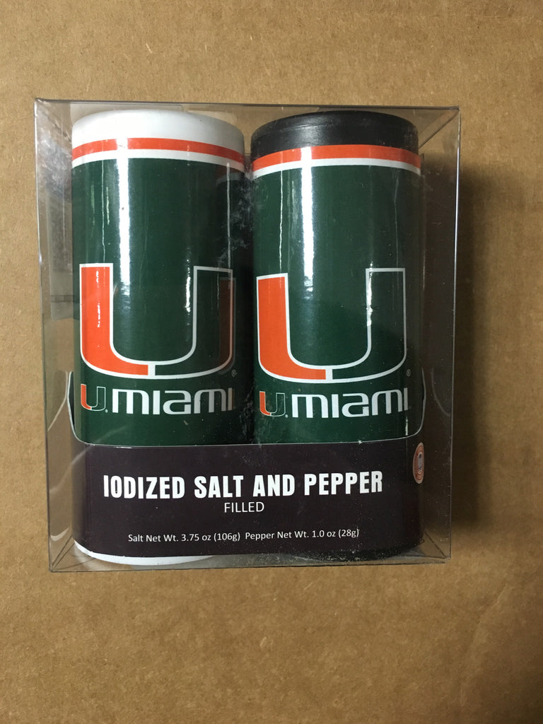 Miami Hurricanes Salt & Pepper Shakers - CanesWear at Miami FanWear Tailgate Gear MyFanClip CanesWear at Miami FanWear