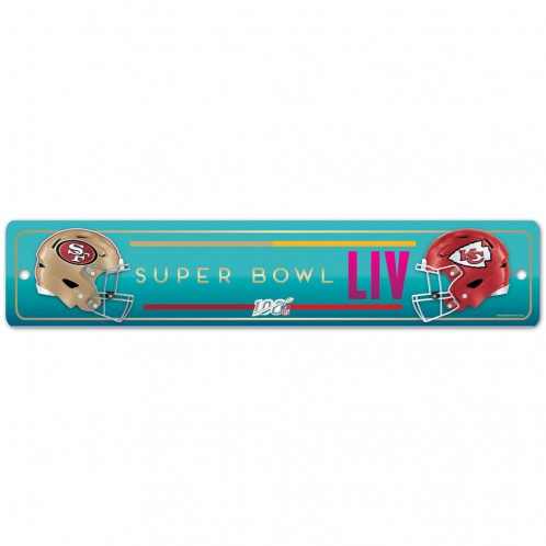 "Super Bowl LIV Dueling Plastic Street Sign - 3.75"" x 19"""