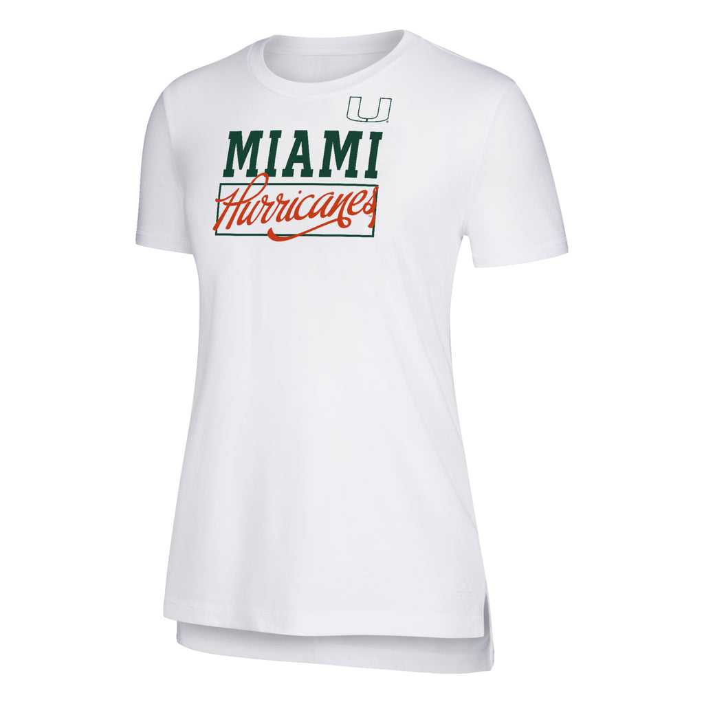Miami Hurricanes adidas 2018 Women's Large Box YOLA Crew Shirt- White