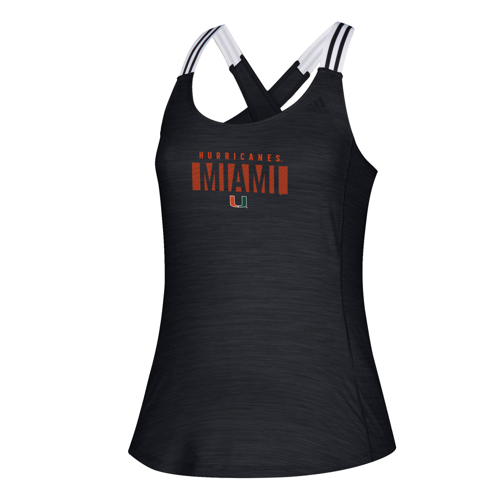 Miami Hurricanes adidas Women's Team Knockout 3-Stripes Cross Back Tank Top - Black/Gray